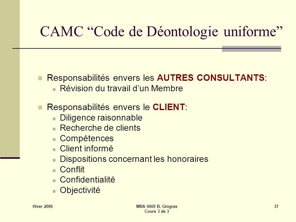 Hiver 2006 MBA 6669 B. Gingras Cours 3 de 3 37 CAMC Code de Déontologie uniforme Responsabilités envers les AUTRES CONSULTANTS: Révision du travail du