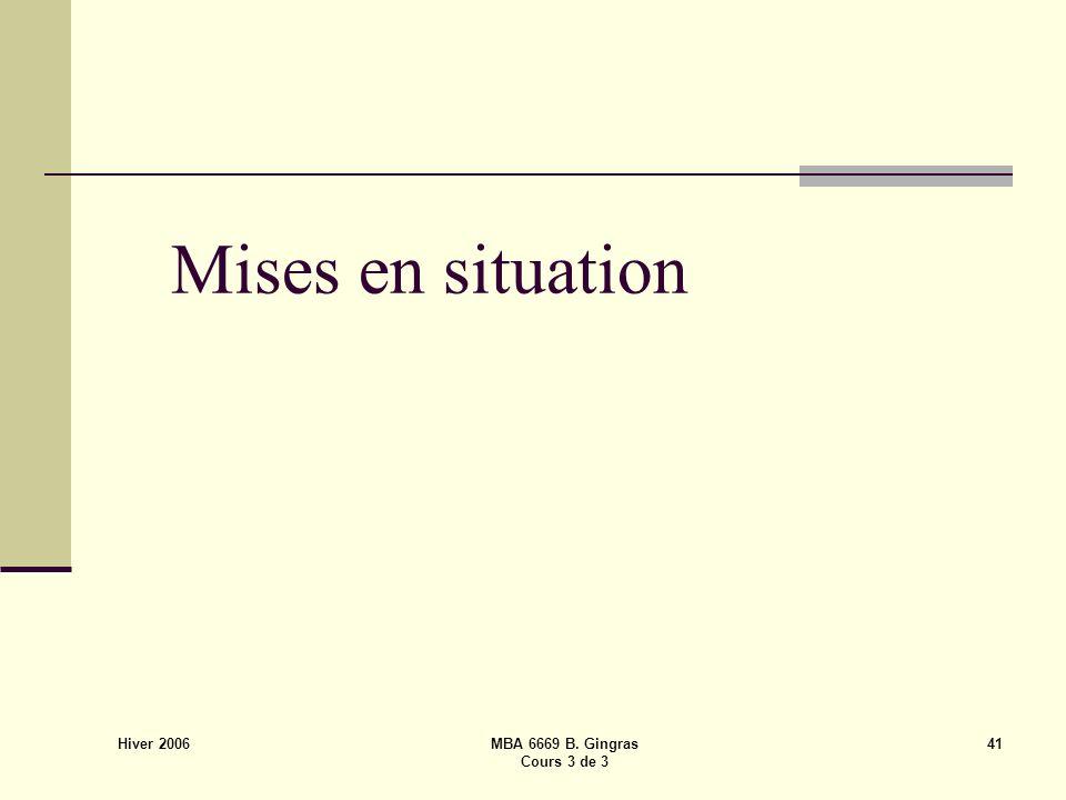 Hiver 2006 MBA 6669 B. Gingras Cours 3 de 3 41 Mises en situation