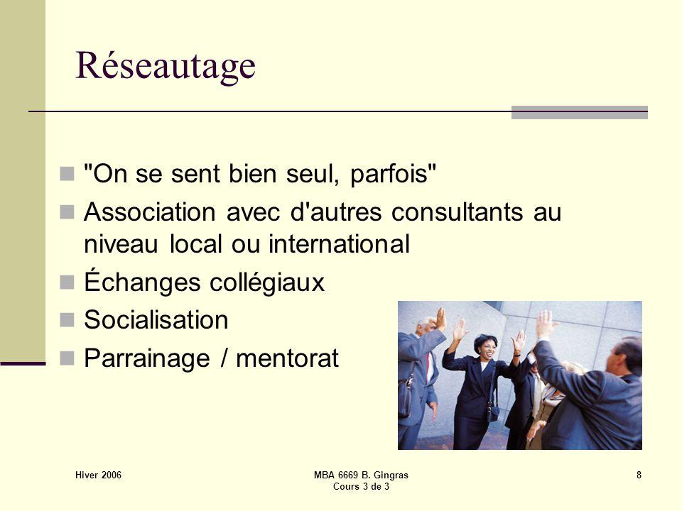 Hiver 2006 MBA 6669 B. Gingras Cours 3 de 3 8 Réseautage
