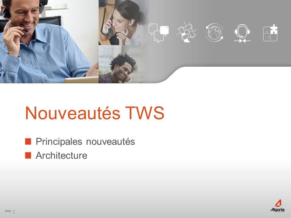2 Principales nouveautés Architecture Nouveautés TWS