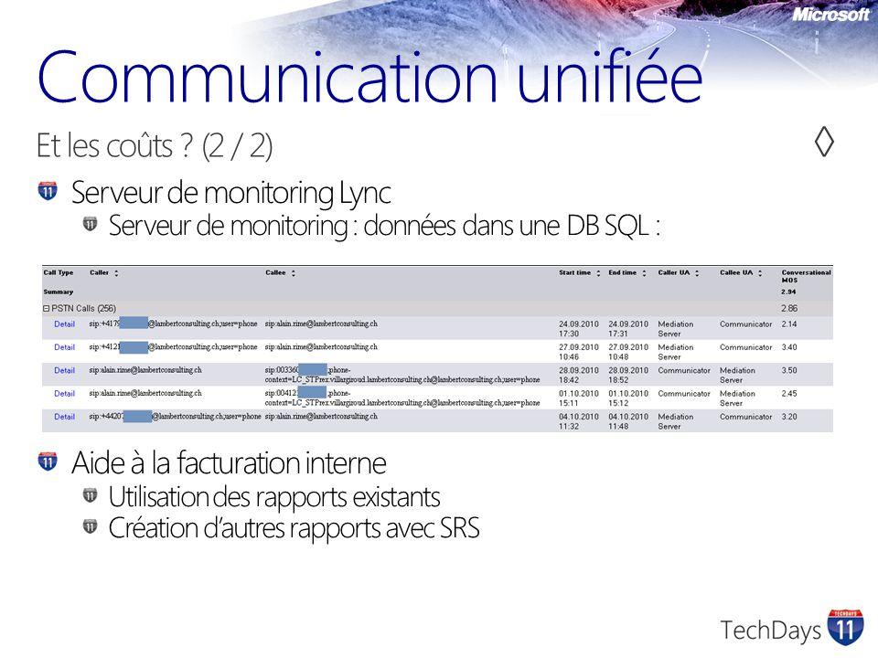 Serveur de monitoring Lync Serveur de monitoring : données dans une DB SQL : Aide à la facturation interne Utilisation des rapports existants Création dautres rapports avec SRS