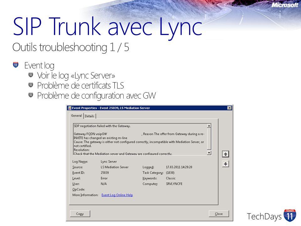 Event log Voir le log «Lync Server» Problème de certificats TLS Problème de configuration avec GW
