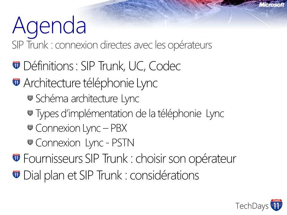 Définitions : SIP Trunk, UC, Codec Architecture téléphonie Lync Schéma architecture Lync Types dimplémentation de la téléphonie Lync Connexion Lync – PBX Connexion Lync - PSTN Fournisseurs SIP Trunk : choisir son opérateur Dial plan et SIP Trunk : considérations