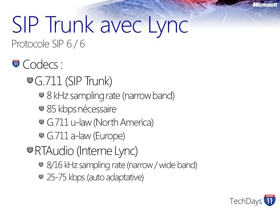 Codecs : G.711 (SIP Trunk) 8 kHz sampling rate (narrow band) 85 kbps nécessaire G.711 u-law (North America) G.711 a-law (Europe) RTAudio (Interne Lync) 8/16 kHz sampling rate (narrow / wide band) 25-75 kbps (auto adaptative)