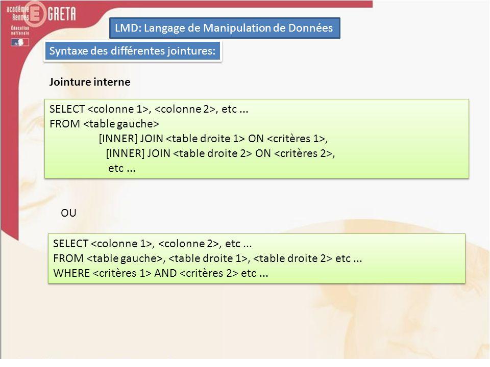 LMD: Langage de Manipulation de Données Syntaxe des différentes jointures: Jointure interne SELECT,, etc... FROM [INNER] JOIN ON, etc... SELECT,, etc.