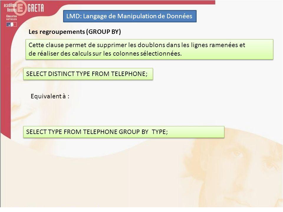 LMD: Langage de Manipulation de Données Les regroupements (GROUP BY) Cette clause permet de supprimer les doublons dans les lignes ramenées et de réal