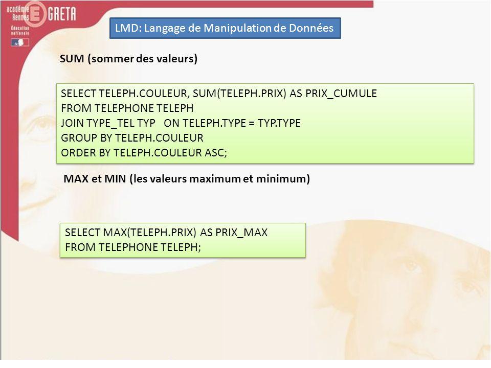 LMD: Langage de Manipulation de Données SUM (sommer des valeurs) SELECT TELEPH.COULEUR, SUM(TELEPH.PRIX) AS PRIX_CUMULE FROM TELEPHONE TELEPH JOIN TYP