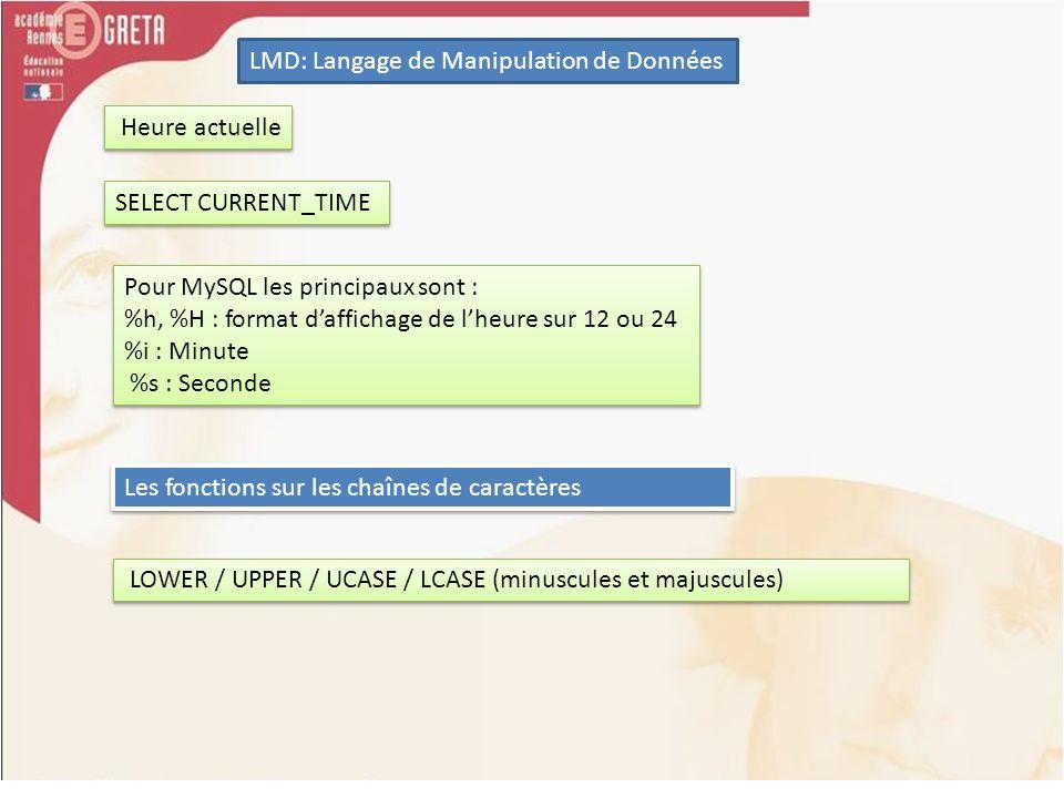 LMD: Langage de Manipulation de Données Heure actuelle SELECT CURRENT_TIME Pour MySQL les principaux sont : %h, %H : format daffichage de lheure sur 1