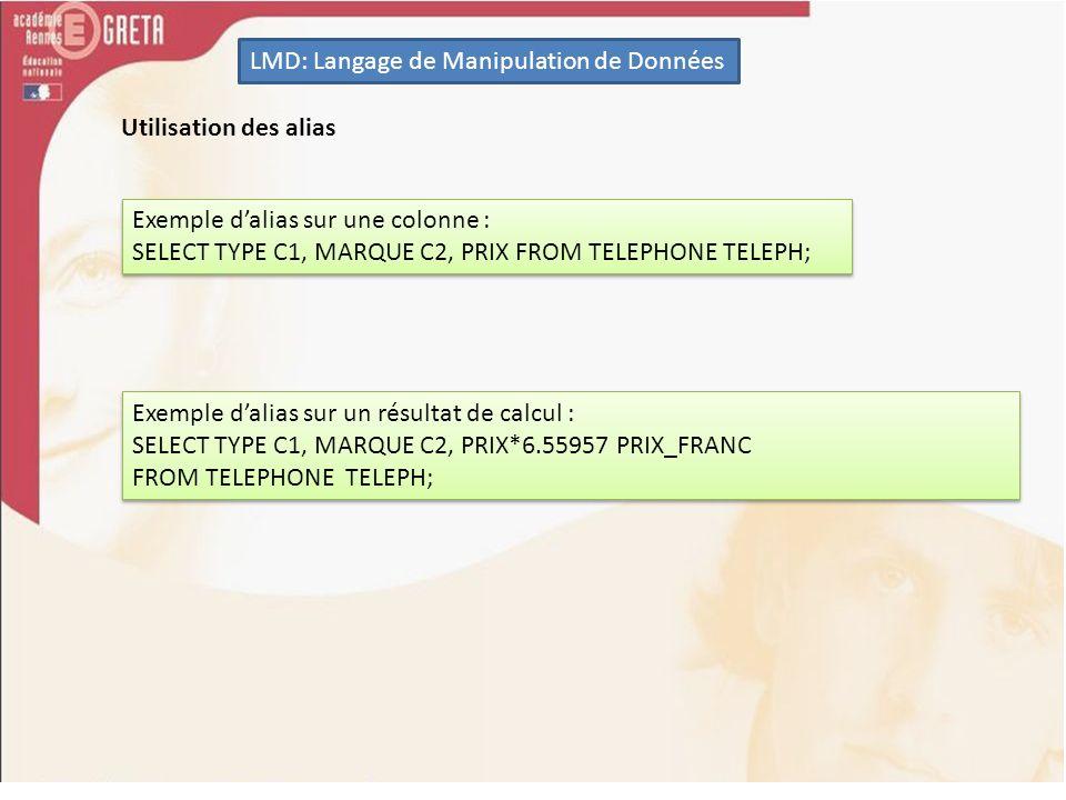 LMD: Langage de Manipulation de Données Les fonctions utilisées lors dun regroupement SELECT COUNT(*) FROM TELEPHONE; SELECT SUM(PRIX) FROM TELEPHONE; Par exemple pour connaître le nombre de lignes de la table TELEPHONE qui ont un prix identique.