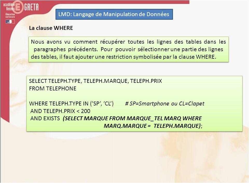 LMD: Langage de Manipulation de Données La clause WHERE Nous avons vu comment récupérer toutes les lignes des tables dans les paragraphes précédents.