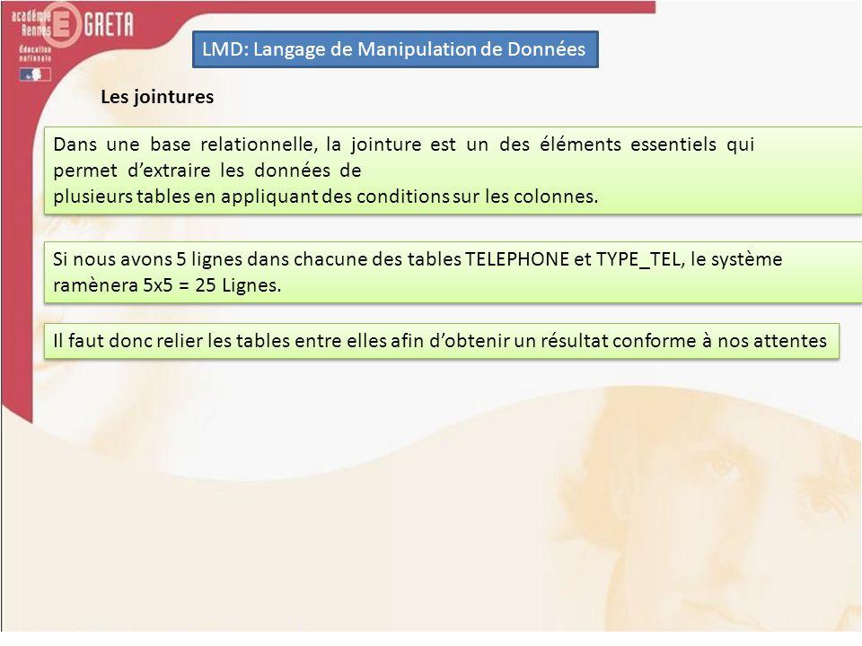 LMD: Langage de Manipulation de Données La jointure interne Il faut faire la jointure sur la table TYPE_TEL avec la colonne TYPE et la jointure sur la table MARQUE_TEL sur la colonne MARQUE.