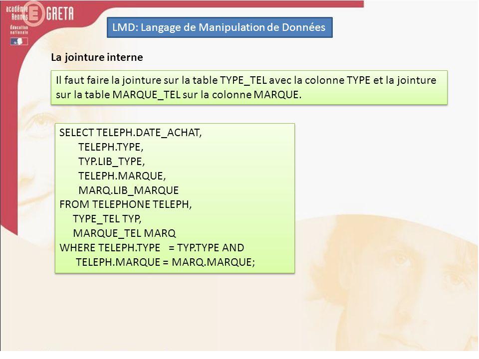 LMD: Langage de Manipulation de Données La jointure interne Il faut faire la jointure sur la table TYPE_TEL avec la colonne TYPE et la jointure sur la