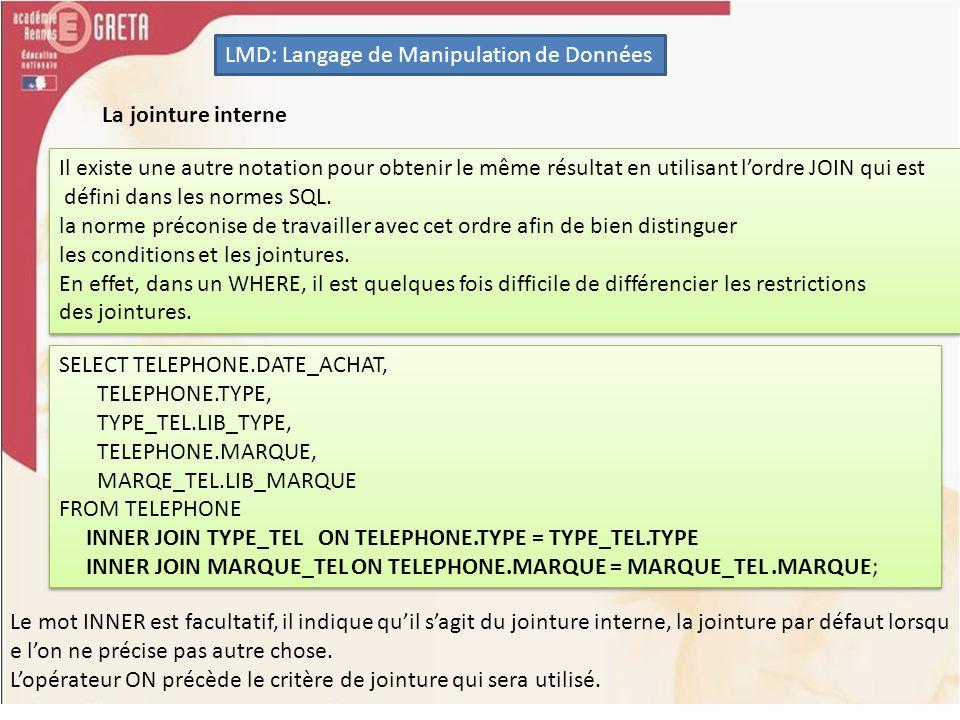 LMD: Langage de Manipulation de Données Linsertion de données Lordre INSERT INSERT INTO TELEPHONE (NUMERO, TYPE, MARQUE, DATE_ACHAT,PRIX,NUM_PROPRIETAIRE,COULEUR) VALUES (1,SP,1,to_date(15/01/2010,DD/MM/YYYY),159,190120,ROUGE); INSERT INTO TELEPHONE (NUMERO, TYPE, MARQUE, DATE_ACHAT,PRIX,NUM_PROPRIETAIRE,COULEUR) VALUES (1,SP,1,to_date(15/01/2010,DD/MM/YYYY),159,190120,ROUGE);