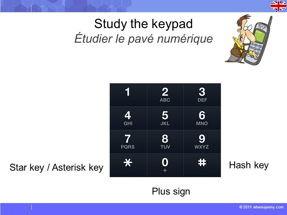 Study the keypad Étudier le pavé numérique Hash key Star key / Asterisk key Plus sign
