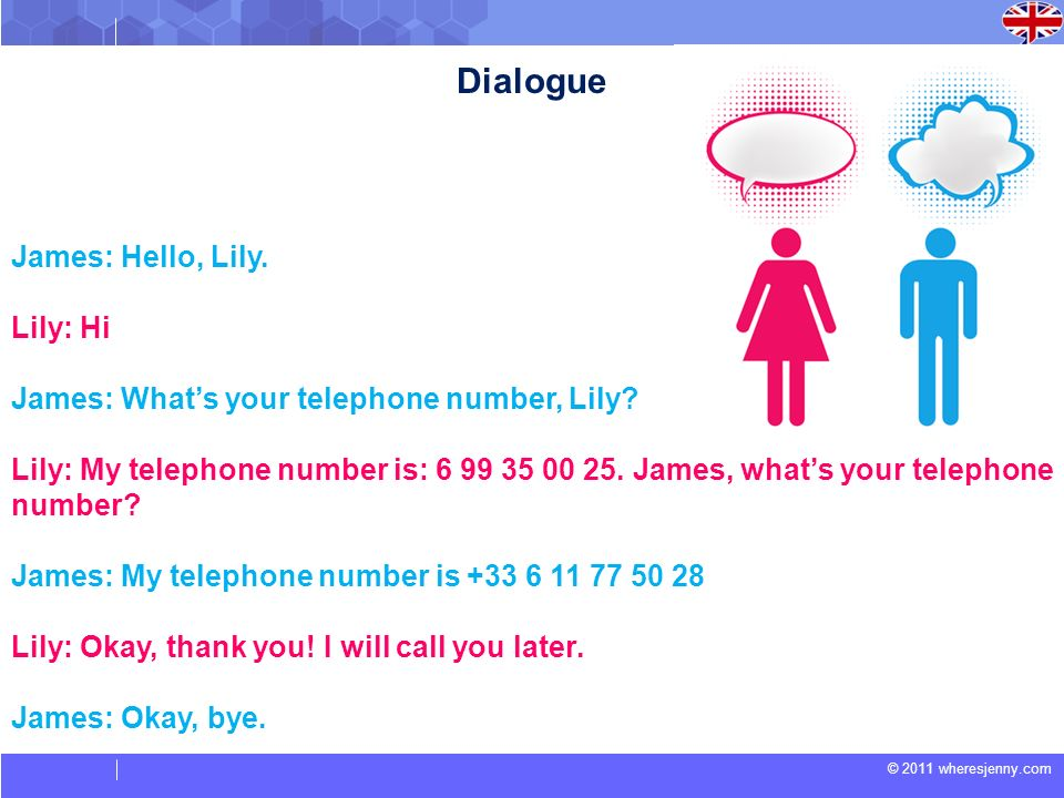 © 2011 wheresjenny.com James: Hello, Lily. Lily: Hi James: Whats your telephone number, Lily? Lily: My telephone number is: 6 99 35 00 25. James, what