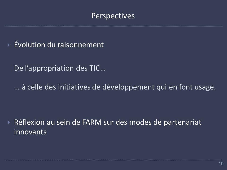 Perspectives Évolution du raisonnement De lappropriation des TIC… … à celle des initiatives de développement qui en font usage.