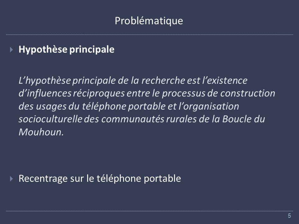 Problématique Hypothèse principale Lhypothèse principale de la recherche est lexistence dinfluences réciproques entre le processus de construction des usages du téléphone portable et lorganisation socioculturelle des communautés rurales de la Boucle du Mouhoun.