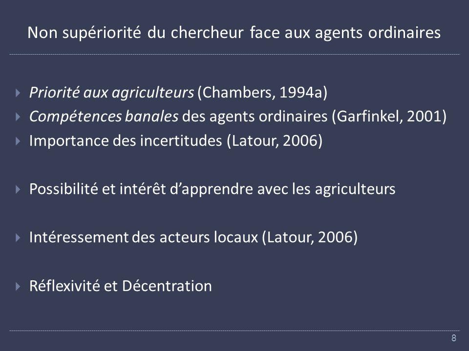 Non supériorité du chercheur face aux agents ordinaires Priorité aux agriculteurs (Chambers, 1994a) Compétences banales des agents ordinaires (Garfinkel, 2001) Importance des incertitudes (Latour, 2006) Possibilité et intérêt dapprendre avec les agriculteurs Intéressement des acteurs locaux (Latour, 2006) Réflexivité et Décentration 8