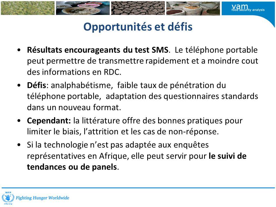 Opportunités et défis Résultats encourageants du test SMS.