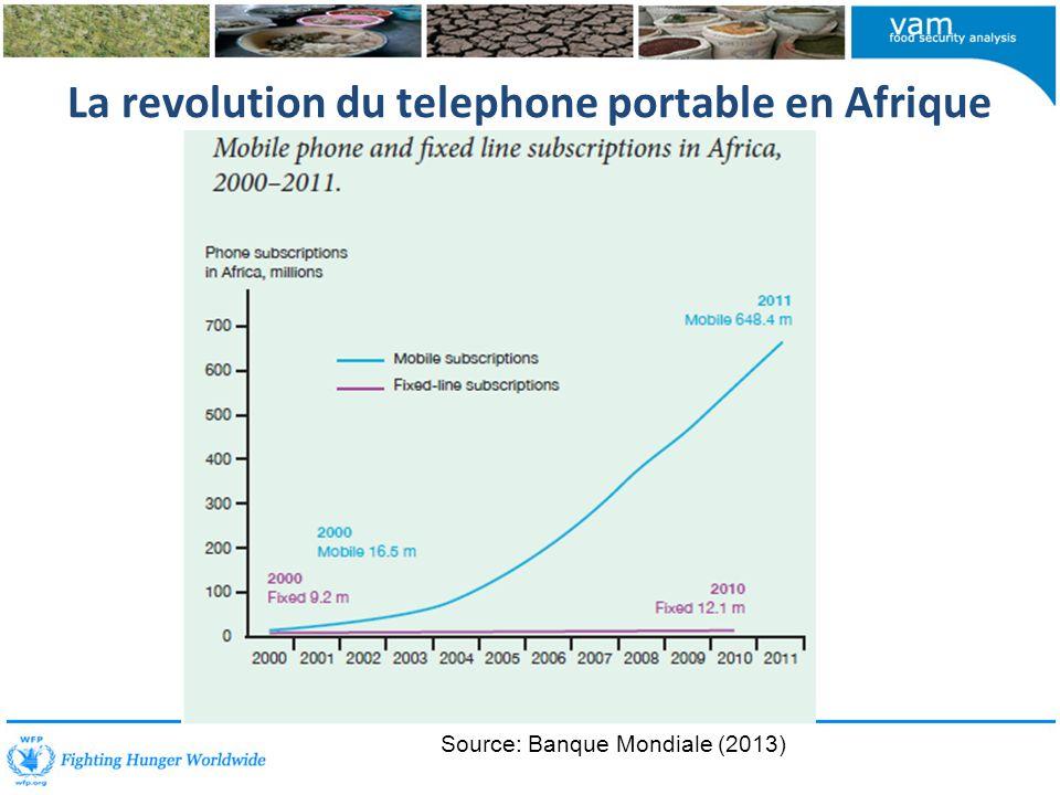 La revolution du telephone portable en Afrique Source: Banque Mondiale (2013)