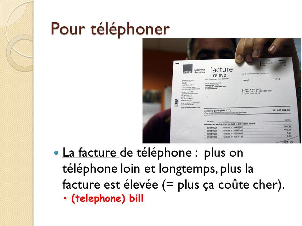 Pour téléphoner Pour communiquer vite et par écrit: le fax = la télécopie (Quel est votre numéro de fax ) envoyer un fax = faxer (un document, une lettre) recevoir un fax le courriel = le courrier électronique
