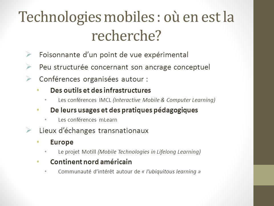 Technologies mobiles : où en est la recherche? Foisonnante dun point de vue expérimental Peu structurée concernant son ancrage conceptuel Conférences