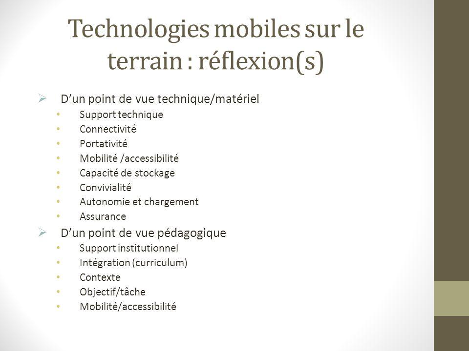 Technologies mobiles sur le terrain : réflexion(s) Dun point de vue technique/matériel Support technique Connectivité Portativité Mobilité /accessibil