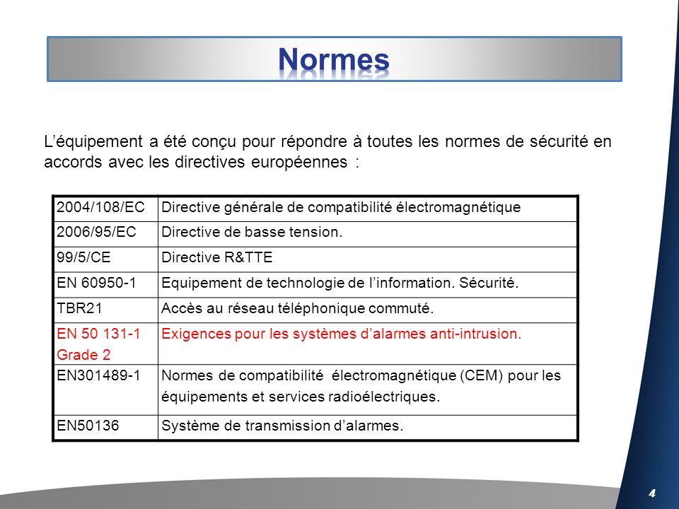4 Léquipement a été conçu pour répondre à toutes les normes de sécurité en accords avec les directives européennes : 2004/108/ECDirective générale de compatibilité électromagnétique 2006/95/ECDirective de basse tension.
