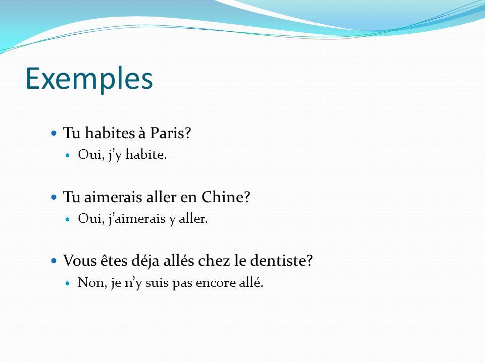 Exemples Tu habites à Paris? Oui, jy habite. Tu aimerais aller en Chine? Oui, jaimerais y aller. Vous êtes déja allés chez le dentiste? Non, je ny sui