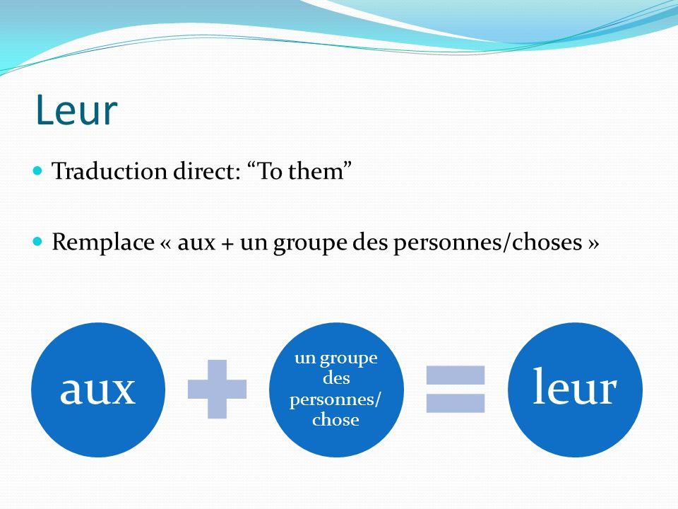 Leur Traduction direct: To them Remplace « aux + un groupe des personnes/choses » aux un groupe des personnes/ chose leur