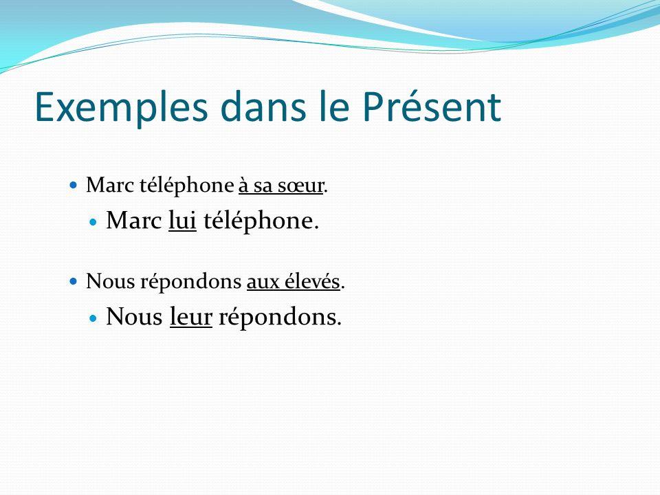 Exemples dans le Présent Marc téléphone à sa sœur.