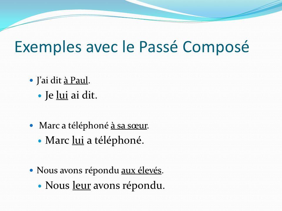 Exemples avec le Passé Composé Jai dit à Paul.Je lui ai dit.