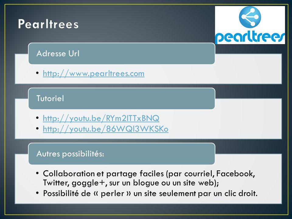 http://www.pearltrees.com Adresse Url http://youtu.be/RYm2ITTxBNQ http://youtu.be/86WQl3WKSKo Tutoriel Collaboration et partage faciles (par courriel, Facebook, Twitter, goggle+, sur un blogue ou un site web); Possibilité de « perler » un site seulement par un clic droit.