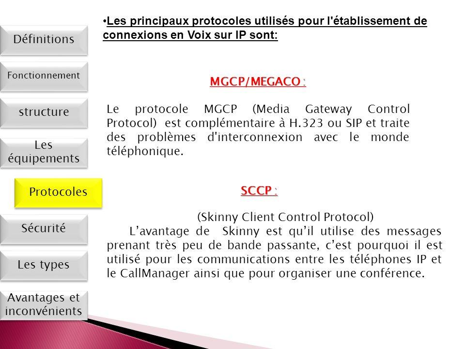 Les types Définitions Fonctionnement Les équipements Protocoles Sécurité Avantages et inconvénients MGCP/MEGACO : Le protocole MGCP (Media Gateway Con