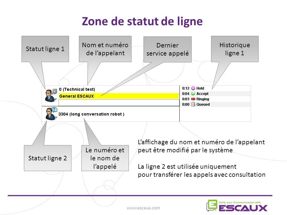 www.escaux.com Zone de statut de ligne Statut ligne 1 Nom et numéro de lappelant Dernier service appelé Historique ligne 1 Statut ligne 2 Le numéro et le nom de lappelé Laffichage du nom et numéro de lappelant peut être modifié par le système La ligne 2 est utilisée uniquement pour transférer les appels avec consultation