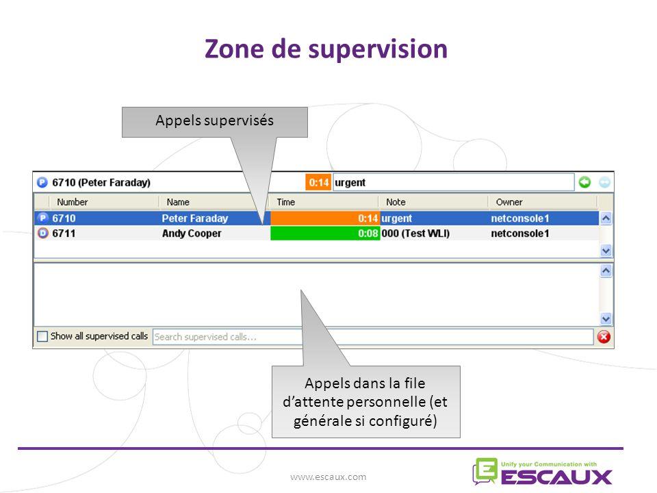 www.escaux.com Zone de supervision Appels dans la file dattente personnelle (et générale si configuré) Appels supervisés
