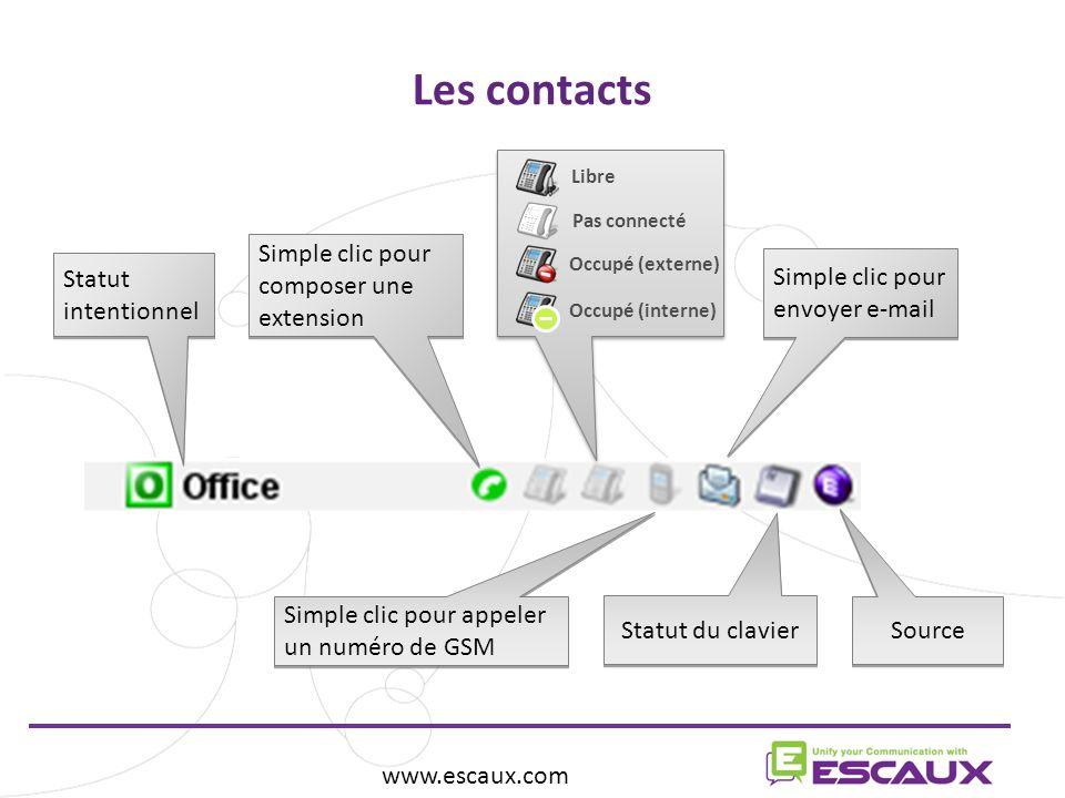Simple clic pour envoyer e-mail Les contacts www.escaux.com Source Simple clic pour appeler un numéro de GSM Simple clic pour composer une extension Statut du clavier Statut intentionnel Libre Pas connecté Occupé (externe) Occupé (interne)