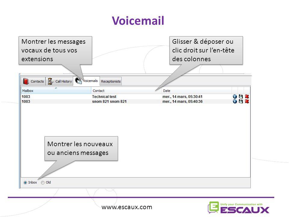 www.escaux.com Voicemail Montrer les messages vocaux de tous vos extensions Montrer les nouveaux ou anciens messages Glisser & déposer ou clic droit sur len-tête des colonnes