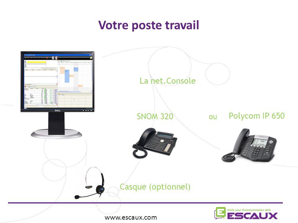 Votre poste travail www.escaux.com La net.Console Casque (optionnel) SNOM 320 Polycom IP 650 ou
