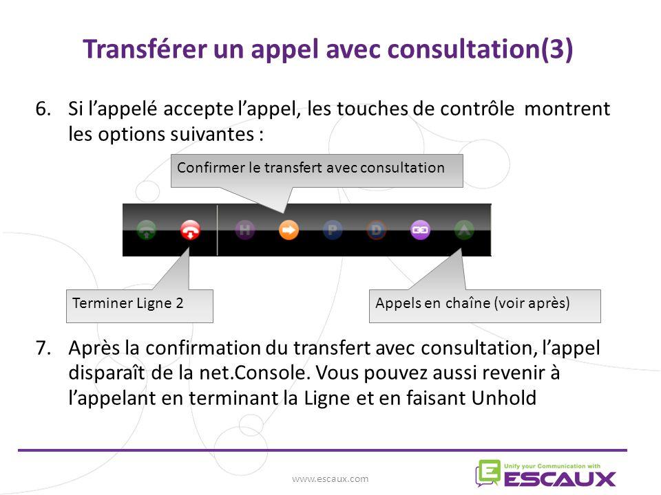 6.Si lappelé accepte lappel, les touches de contrôle montrent les options suivantes : 7.Après la confirmation du transfert avec consultation, lappel disparaît de la net.Console.