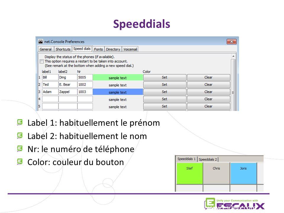 Speeddials Label 1: habituellement le prénom Label 2: habituellement le nom Nr: le numéro de téléphone Color: couleur du bouton www.escaux.com