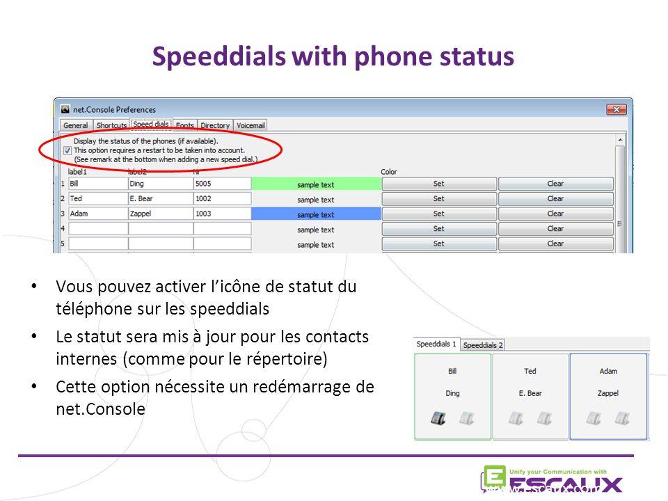 Speeddials with phone status Vous pouvez activer licône de statut du téléphone sur les speeddials Le statut sera mis à jour pour les contacts internes (comme pour le répertoire) Cette option nécessite un redémarrage de net.Console www.escaux.com