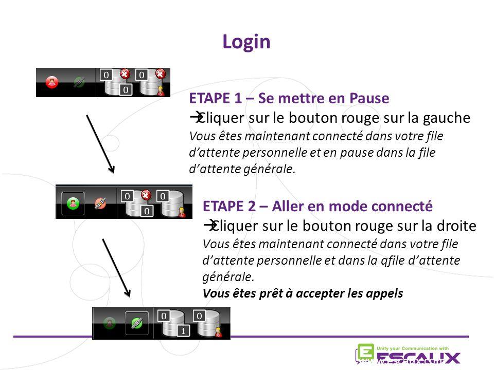 Login www.escaux.com ETAPE 1 – Se mettre en Pause Cliquer sur le bouton rouge sur la gauche Vous êtes maintenant connecté dans votre file dattente personnelle et en pause dans la file dattente générale.