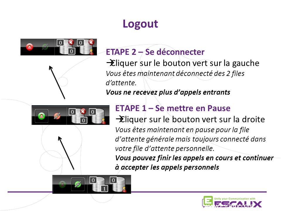 Logout www.escaux.com ETAPE 2 – Se déconnecter Cliquer sur le bouton vert sur la gauche Vous êtes maintenant déconnecté des 2 files dattente.