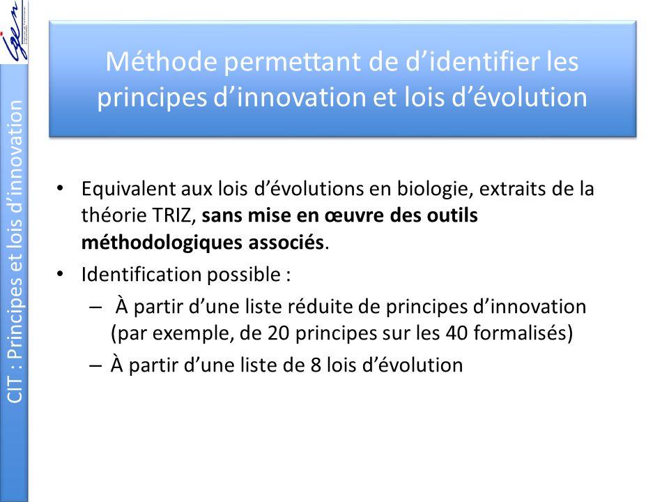Méthode permettant de didentifier les principes dinnovation et lois dévolution Equivalent aux lois dévolutions en biologie, extraits de la théorie TRIZ, sans mise en œuvre des outils méthodologiques associés.