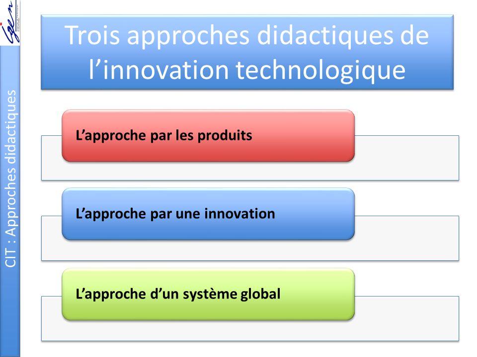 Trois approches didactiques de linnovation technologique CIT : Approches didactiques Lapproche par les produitsLapproche par une innovationLapproche dun système global