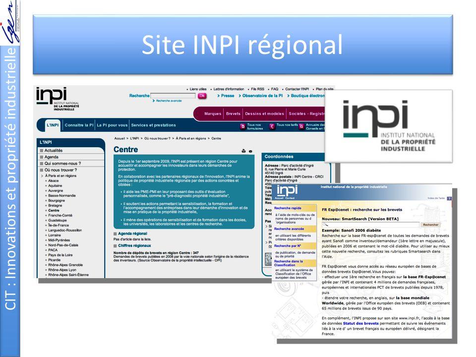 CIT : Innovations et propriété industrielle Site INPI régional
