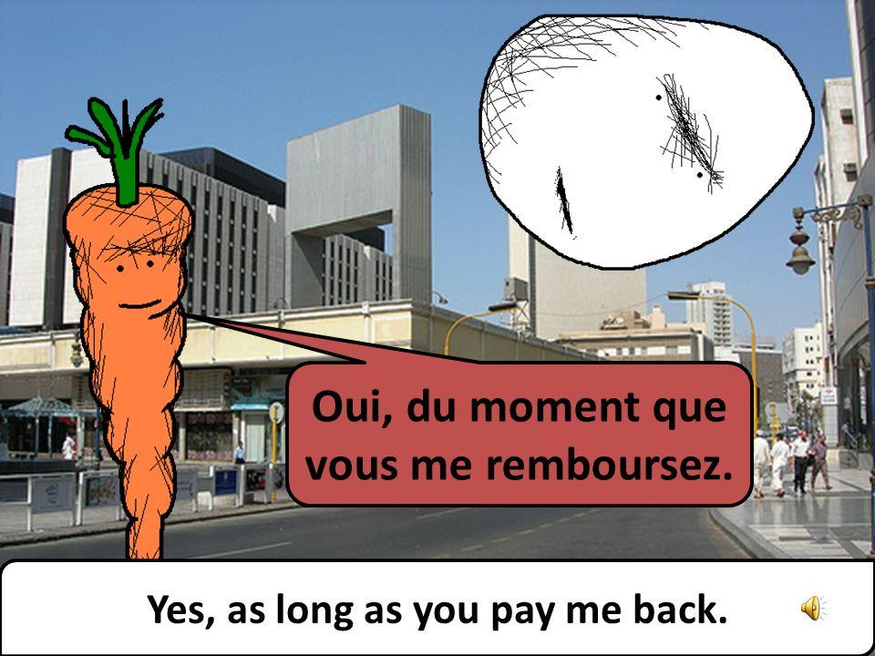 Oui, du moment que vous me remboursez. Yes, as long as you pay me back.