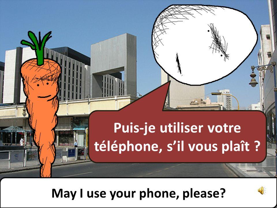 Puis-je utiliser votre téléphone, sil vous plaît ? May I use your phone, please?