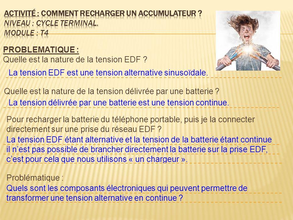 PROBLEMATIQUE : Quelle est la nature de la tension EDF ? Quelle est la nature de la tension délivrée par une batterie ? Pour recharger la batterie du
